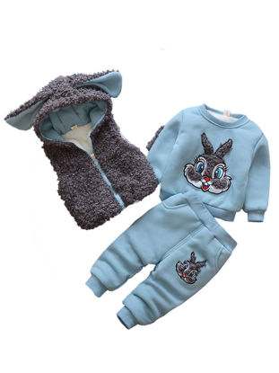 Picture of Baby Baby's 3Pcs Pants Set Cute Bunny Fleece O Neck Long Sleeve Top Pants And Hooded Waistcoat - 100cm