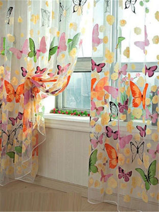 Picture of 1Pcs Butterfly Pattern Printing Curtain Sheer Organza Window Balcony Tulle Decorative Curtain - M