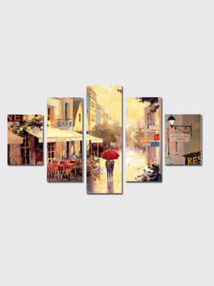 Picture of 5 Pcs Wall Mounted Paintings Set Creative City Street Landscape Pattern Combined Pictures
