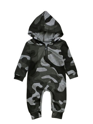 Picture of Baby Boy Baby Boy's Romper Hooded Long Sleeve Camouflage Baby Clothes - 70cm