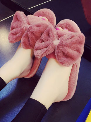 Picture of Women's Fluffy Slippers Sweet Bow Decor Open Toe Soft Indoor Plush Slippers - 38-39