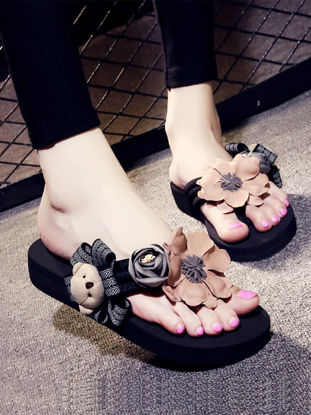 Picture of Women's Home Slippers Artificial Flower Cartoon Bear Decorating Cute Style Flip-Flops - 38