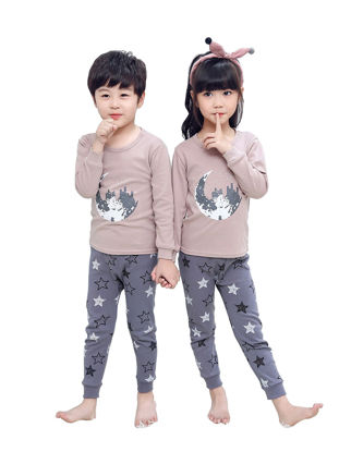 Picture of Boys and Girls 2 Pcs Brother & Sister Family Outfit Creative Cozy Clothing Set - Reference Height:Girl 160cm