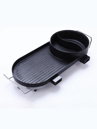 Picture of 2 In 1 Barbecue Grill Pan Smokeless Non-Stick BBQ Machine Household Multi-Functional Electric Hotpot - Type:UK