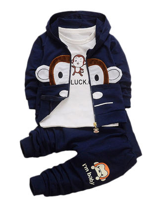 Picture of Toddlers 3Pcs Baby's Clothes Set Cartoon Cute Monkey Pattern Hooded Coat Pants T-Shirt Set - 90cm