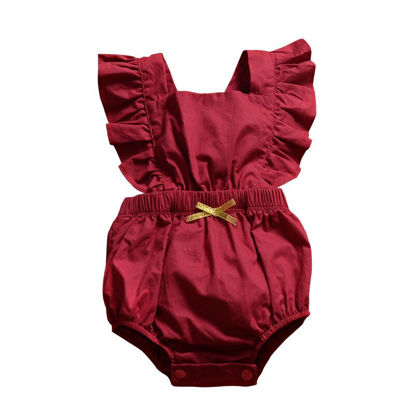 Picture of Baby Baby's Rompers Pyre Color Flying Sleeve Cozy Bodysuit - 90cm