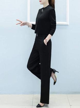 Picture of Women's 2Pcs Pants Set Long Sleeve Blouse OL Wide Leg Pants Suit - XL