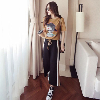 Picture of Women's 2Pcs Figure Pattern Short Sleeve Top Color Block Straight Pants - XXL