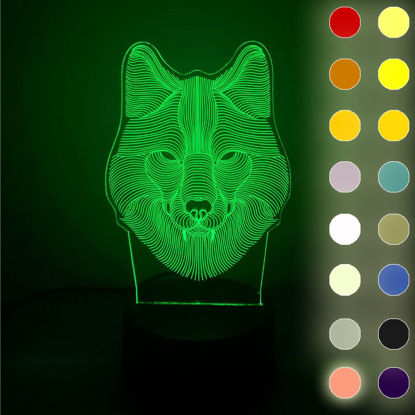 Picture of 1Pc YPZW Electronic Display Creative Wolf Head Glowing Decorative Accent - One Size