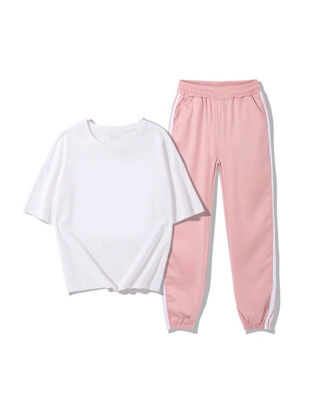Picture of Women's 2Pcs Pants Set Slim T Shirt Cropped Pants Suit - M