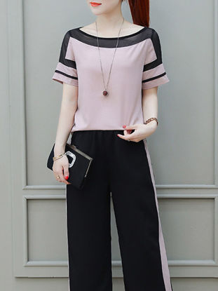 Picture of Women's 2Pcs Patchwork Short Sleeve T Shirt Striped Pocket Wide Leg Pants - S