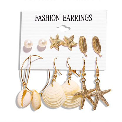 Picture of 6 Pairs Women's Earrings Set Seashell Pattern Elegant Earrings Accessory - One Size