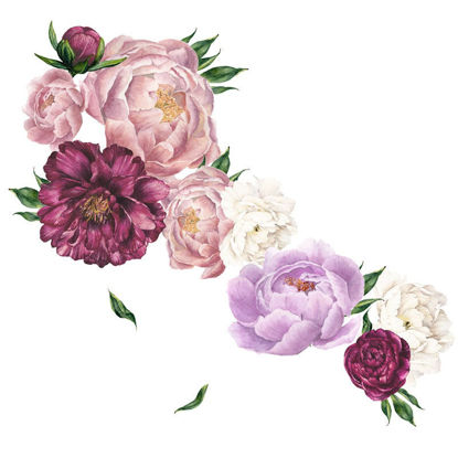 Picture of Wall Sticker Peony Flower Beautiful Removable Bedroom Living Room Wall Decor - One Size