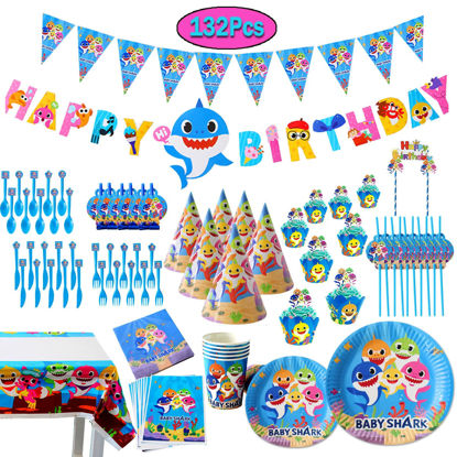 Picture of 132 Pcs Baby Shark Party Supplies Set Kids Birthday Party Decorations - One Size