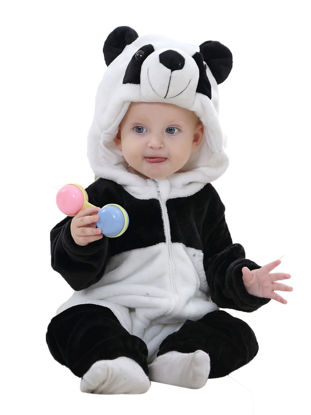 Picture of Baby Baby's Jumpsuit Cute Cartoon Panda Sculpt Flannel Long Sleeve Comfy Breathable Hooded Romper - 120cm
