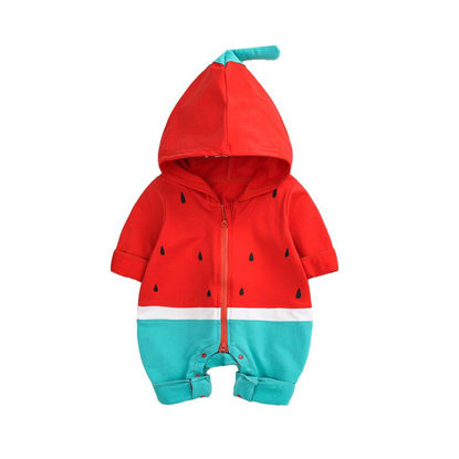 Picture of Baby's Rompers Colorblock Patchwork Hooded Cartoon Rompers - 80cm