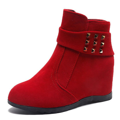 Picture of Women's Bottine Round Toe Hidden Elevator Rivet Casual Shoes - 39