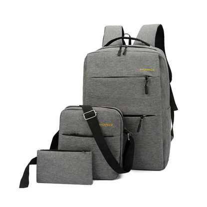 Picture of 3pcs/set Large Capacity External USB Charging Interface Backpack Waterproof Backpack With Messenger Bag & Handbag - One Size
