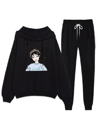 Picture of Women's 2Pcs Sets Loose Hooded Figure Print Hoodie Causal Sports Pants Sets - XL