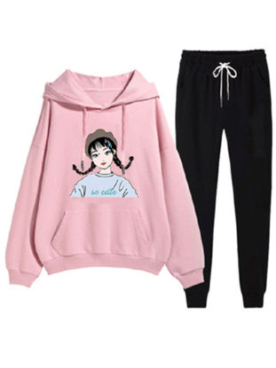 Picture of Women's 2Pcs Sets Loose Hooded Figure Print Hoodie Causal Sports Pants Sets - M