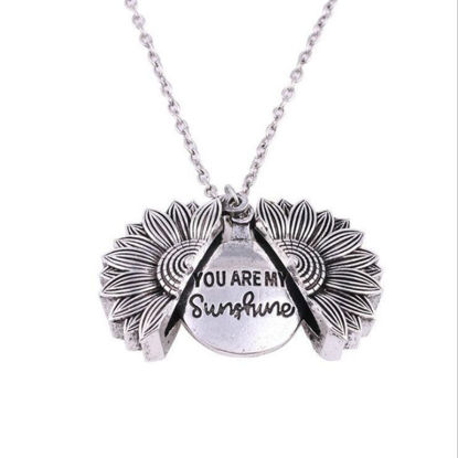 Picture of Women's Fashion Necklace All-Match Simple Double Layer Sun Flower Letter Pendant Elegant Accessory - One Size