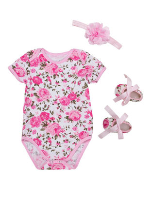 Picture of Baby Girl's 3 Pcs Set Flower Pattern Baby Romper Outfit - 6-12 M