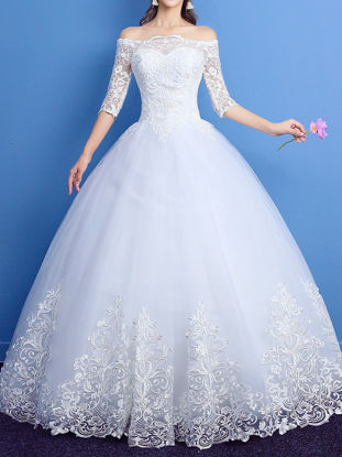 Picture of Women's Wedding Dress Solid Color Lace Embroidery Slash Neck Off Shoulder Elegant Dress - S