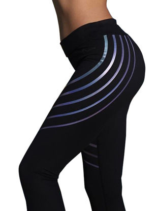 صورة Women's Sports Pants Trendy Striped Slim Breathable Elastic Waist Yoga Leggings - XL