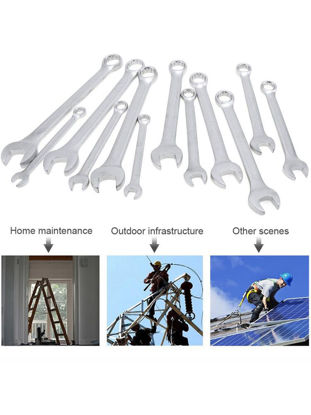 Picture of 14Pcs Activities Ratchet Gears Wrench Set Open End Wrenches Repair Tools - Type:Dual Wrench