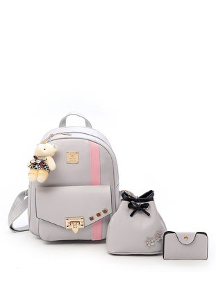 Picture of 3Pcs Women's Backpack Set Color Block Hasp Sweet Preppy Trendy Bags Set - One Size