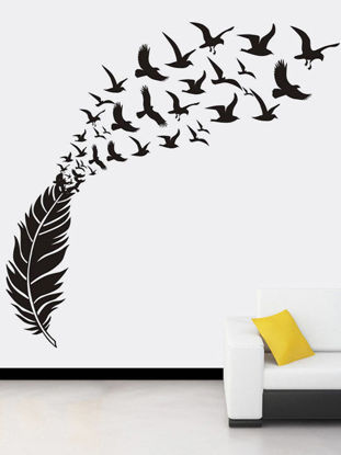 Picture of Wall Sticker Modern Simple Style Feather Design Decorative Sticker - Free