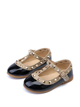 Picture of Girl's Faux Leather Shoes Rivets Decorated Fashion All Match Shoes - 26