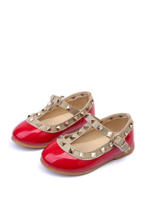 Picture of Girl's Faux Leather Shoes Rivets Decorated Fashion All Match Shoes - 28