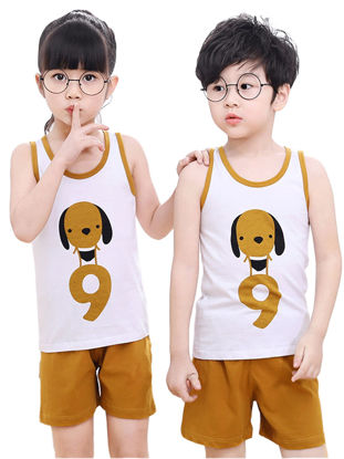 Picture of 2Pcs Brother & Sister Family Outfits Sleeves Adorable Cartoon Top Shorts Set - Reference Height:Girl 90cm