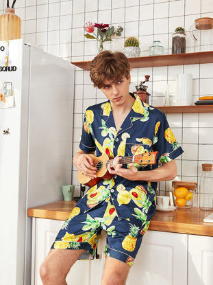 Picture of Men's Pajamas Set Fresh Style Fruits Pattern Short Sleeve Comfy Homewear - L