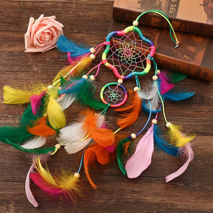 Picture of 1Pc Dream Catchers With Colorful Feathers Handmade Crafts Home Hanging Decoration - One Size