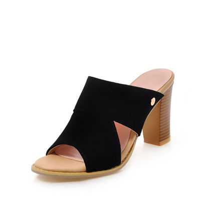 Picture of Women's Open Toe Slippers Thick Heel Peep Toe Hollow Out Fashion Shoes - 40