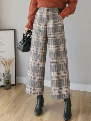 Picture of Women's Wide Leg Pants Gingham Button High Waist Pocket Trousers - S