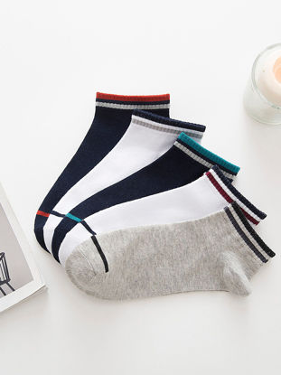 Picture of Men's 5 Pairs Ankle Socks Light Weight Ventilate Leisure Cozy Socks - One Size