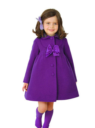 Picture of Toddler Girls Girl's Coat Bow Solid Long Sleeve Kids Clothes - Reference Height:100cm
