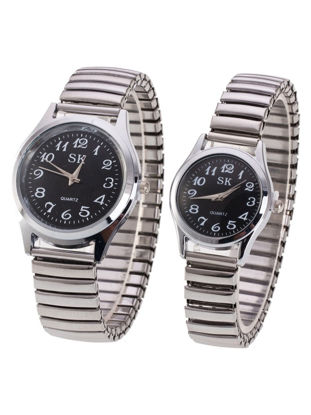 Picture of Couple Watches 2Pcs Metal Spring Band Round Number Dial Watches - One Size