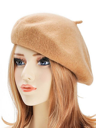 Picture of Women's Simple Beret Pure Color All Match Fashion Imitated Wool Elegant Beret - One Size