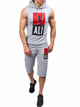 Picture of Men's European Size Casual Set Sleeveless Hooded Top Half Shorts Fashion Tracksuit - XL