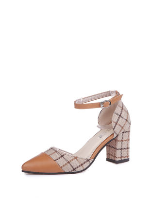 Picture of Women's Thick Heel Sandals Checkered Top Fashion Ankle Strap Sandals - 39