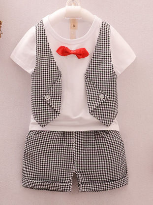 Picture of Toddler Boys Baby's 2 Pcs Clothing Set Simple Short Sleeve Striped Top Shorts Suit - 80cm