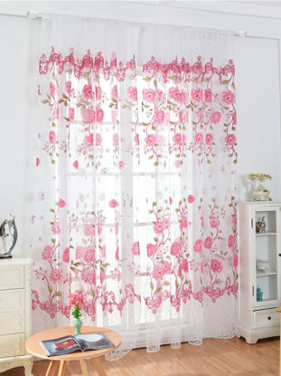 Picture of Flower Pattern Curtain Transparent Window Screen - One Size