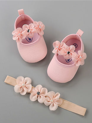 Picture of Baby's Pre-Walkers Fashion Simple Sweet Floral Design Comfy Shoes With Hairband - 12cm