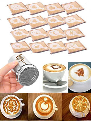 Picture of 16Pcs Fancy Coffee Molds Set DIY Cappuccino Stencil Latte Art Tool With Stainless Steel Sifter