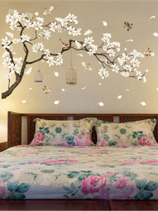 Picture of Bedroom Wall Sticker Sweet Vivid Flowers Pattern Removable Decal - One Size