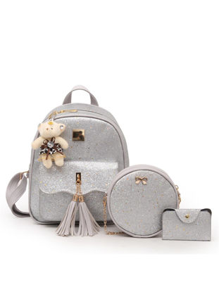 Picture of 3Pcs Women's Backpack Set Sequins Preppy Pendant Trendy Bags - One Size